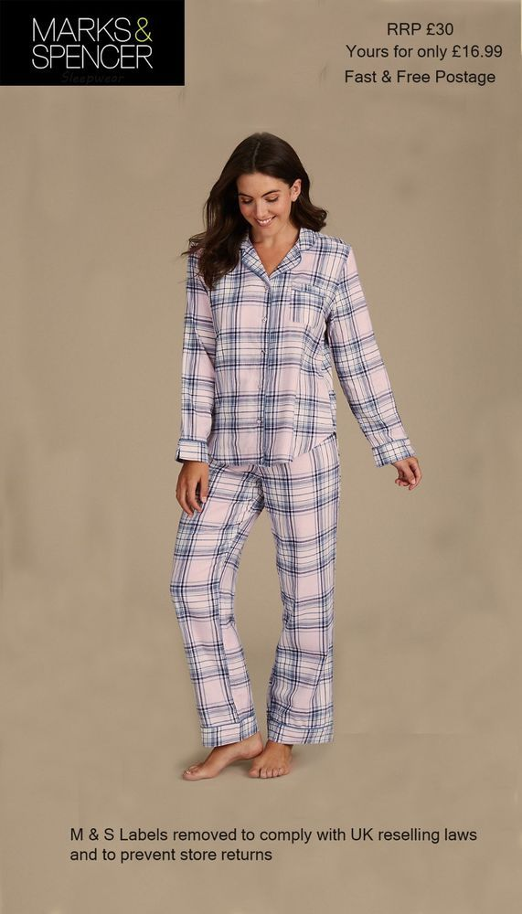 2be7095f9f51 Ex M S Marks   Spencer Ladies Pink Checked PJs Pyjamas Set Trousers Shirt 6  - 16