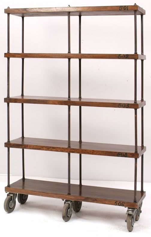 Industrial Mobile Wooden Bookshelf On Castors Industrial Bookcases Wood Bookcase Bookcase