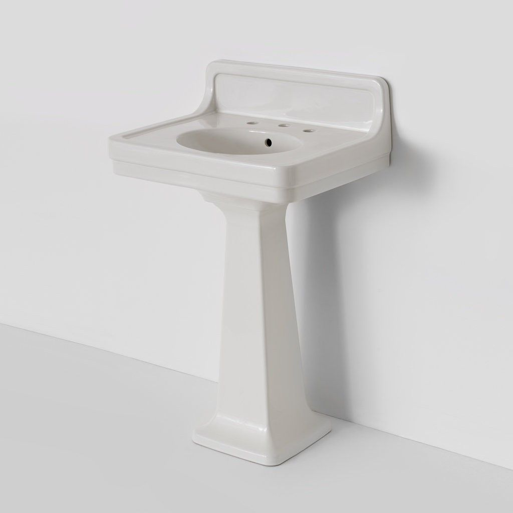 Alden Pedestal Sink with Backsplash | Bath Furniture & Fixtures | Bathroom  Fixtures | Waterworks - Alden Pedestal Sink With Backsplash Bath Furniture & Fixtures