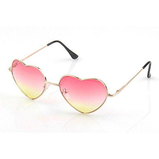 Retrò Vintage A forma di cuore UV400 Gradiente Colorato Occhiali da sole per Donne Rosa Giallo