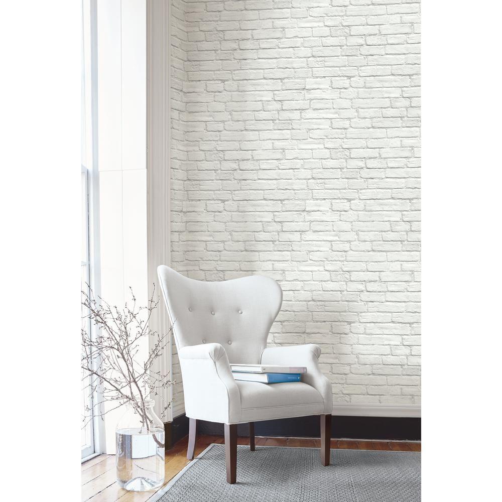 Nextwall Vintage White Brick Vinyl Peelable Wallpaper Covers 30 75 Sq Ft Ax10800 The Home Depot In 2020 White Brick Wallpaper Brick Wallpaper Living Room Removable Brick Wallpaper