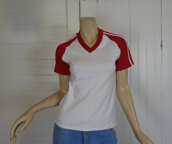 ac0cca9dbac9 80s Raglan Tee with Athletic Stripes- 1980s Vintage Red & White T-shirt-  Small- Disco- Baseball Unif
