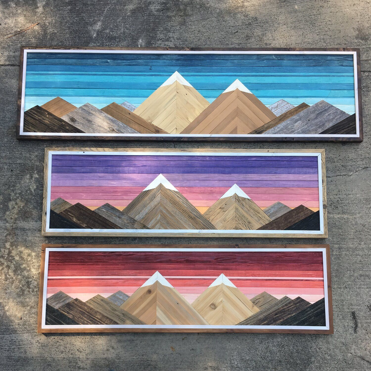 Mountain panels forested way wood wall art diy