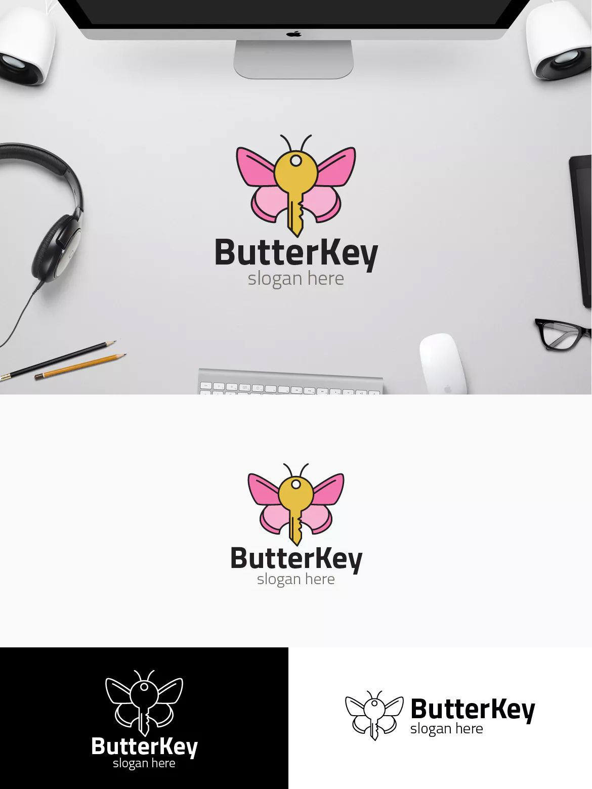 Butterfly Key Logo Template AI, EPS | Logo Templates | Pinterest ...