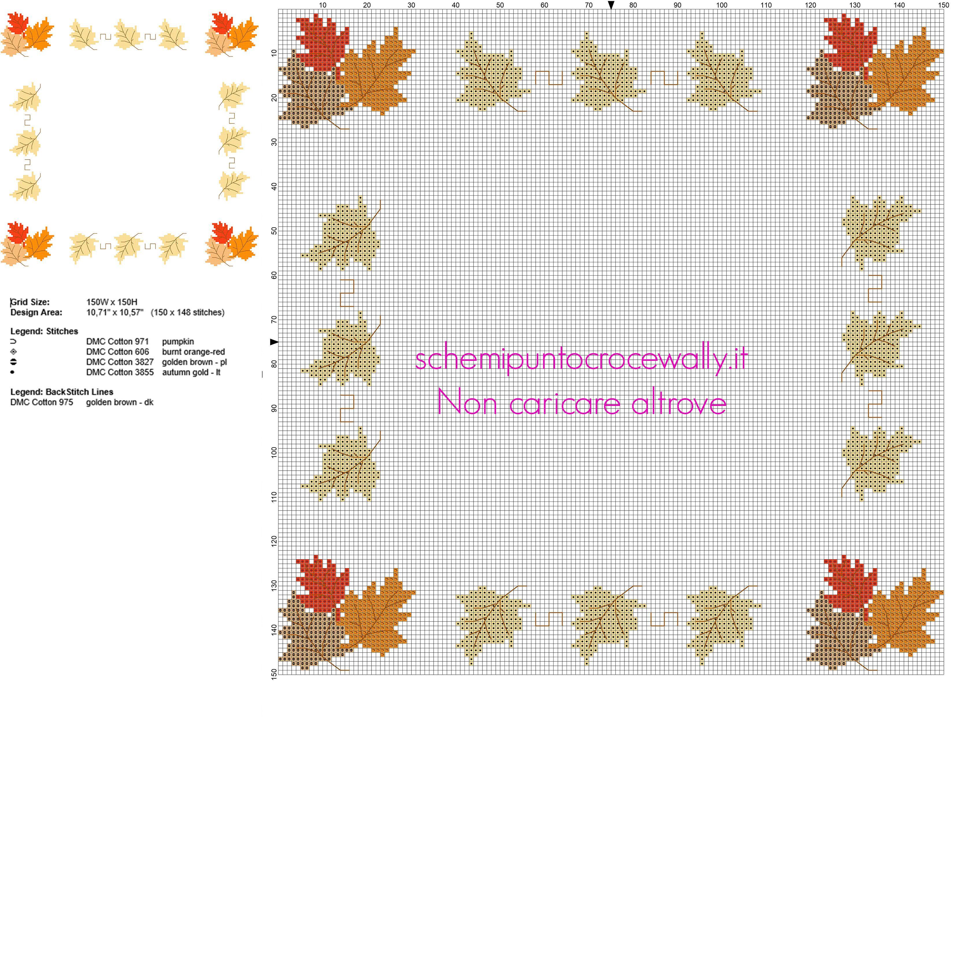 Schema gratis bordo punto croce con foglie autunnali for Schemi a punto croce gratis