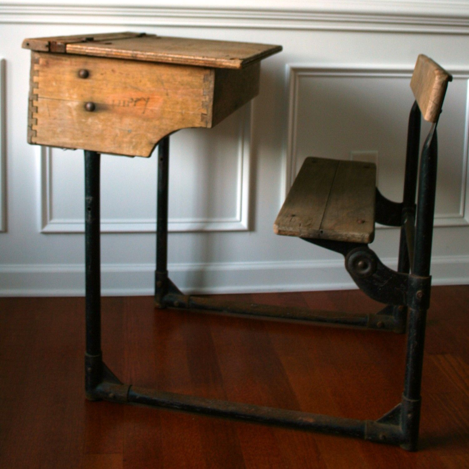 Vintage furniture - School House Old Primitive Furniture Wooden Metal Primitive