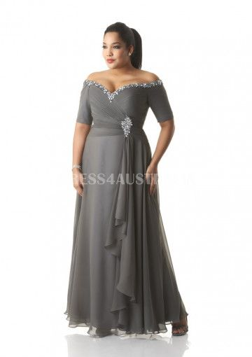 Glamorous A-line Off-the-shoulder Short Sleeves Beading Chiffon Overlay Long Modest Plus Size Mothers Dresses by Bony