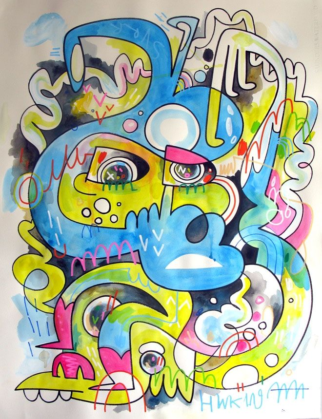 Jon Burgerman – Tired of Being Wired. Posca pen and spray paint ...