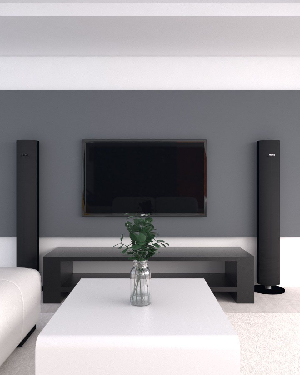 Contemporary Living Room With Gray Accent Wall Grey Accent Wall Grey Accent Wall Living Room Accent Walls In Living Room