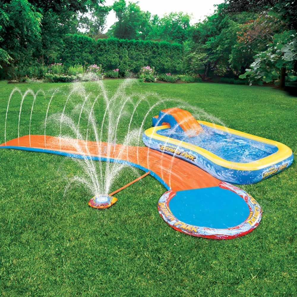 banzai outdoor kids splash park with inflatable slide and pool for