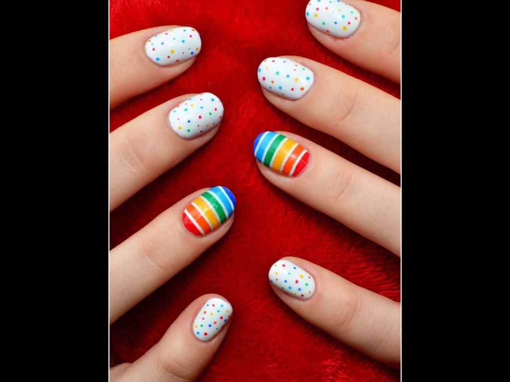 Pin by lissette mariez on nails design pinterest kid nail art colourful rainbow dot manicure with rainbow accent nail cool idea for pride prinsesfo Image collections