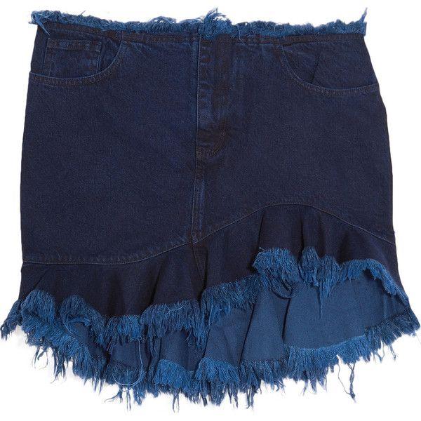 Marques' Almeida Ruffled frayed denim mini skirt (£113) ❤ liked on Polyvore