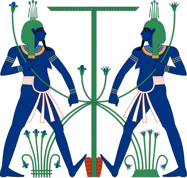 http://en.wikipedia.org/wiki/Hapi_(Nile_god)  Hapi, DEIFICATION of the annual flooding (inundation) of the Nile, bringing silt to grow crops. Epithets include Lord of the Fishes and Birds of the Marshes and Lord of the River Bringing Vegetation. Depicted here as a pair of genies symbolically tying together Upper and Lower Egypt.