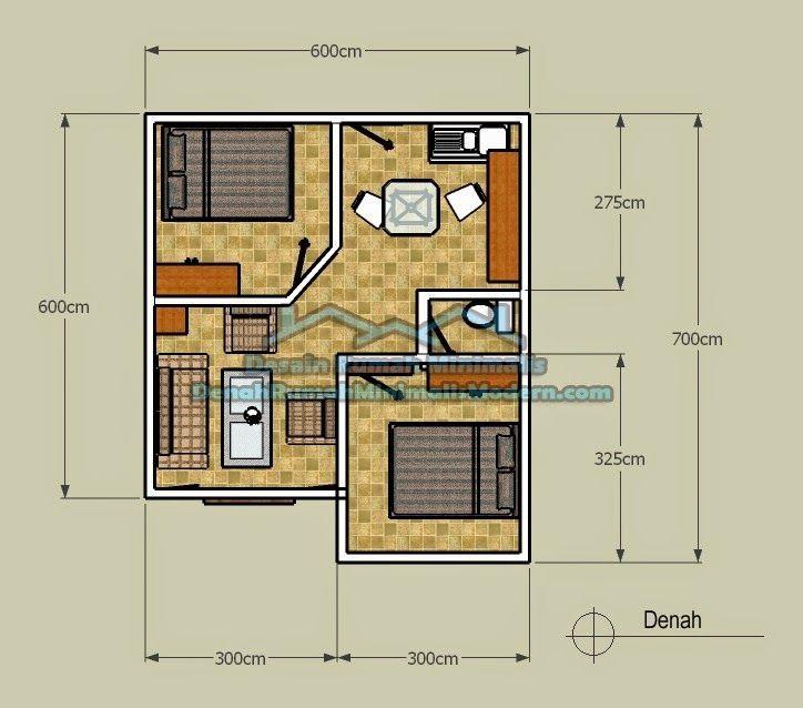 denah rumah minimalis type 21 | Denah rumah, Denah lantai ...