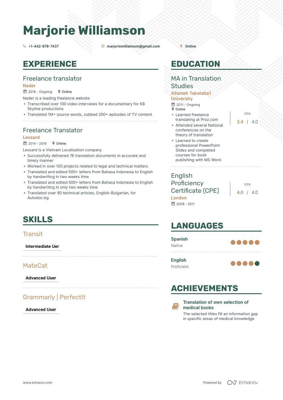 Freelance Translator Resume Example And Guide For 2019 Resume Examples Free Resume Examples Freelance Translator