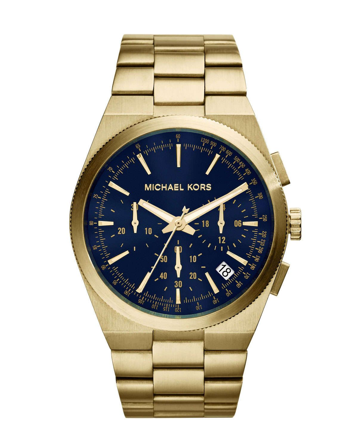 Over-Size Golden/Cobalt Stainless Steel Channing Chronograph Watch