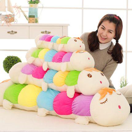 Двусторонняя цветная гусеница плюшевые игрушки куклы подушка кукла кукла подарок на день рождения на Рождество