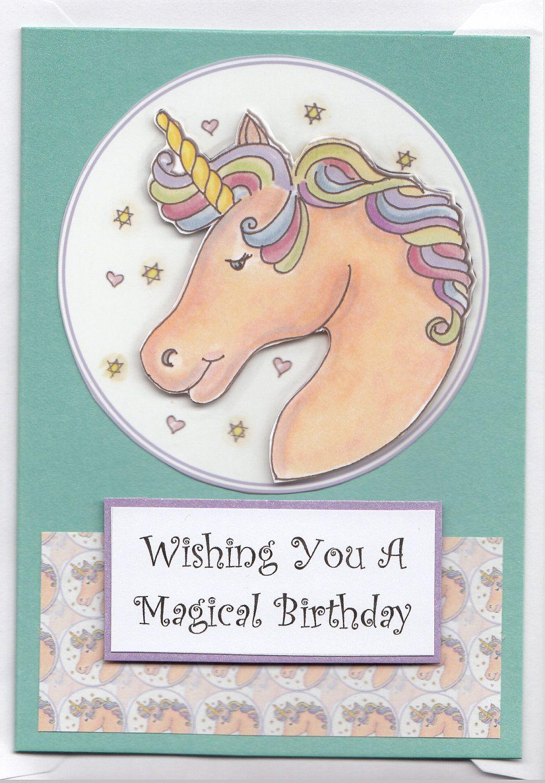 Magical Rainbow Mane Unicorn Birthday Card by