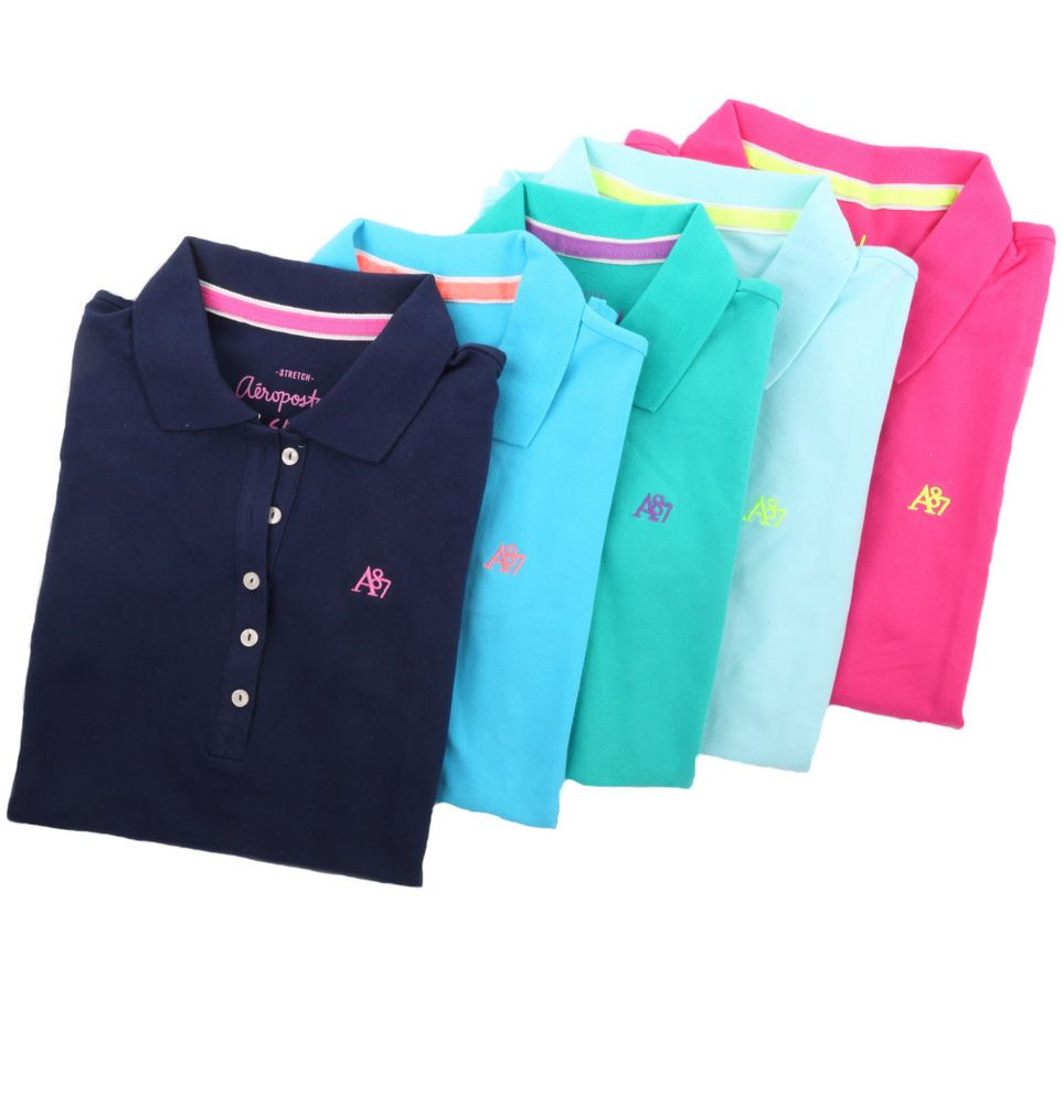 a02814024 Aeropostale Women A87 Solid Classic Piqué Polo Shirt Style 5621-Free  0  Shipping  Aropostale  PoloShirt  Casual