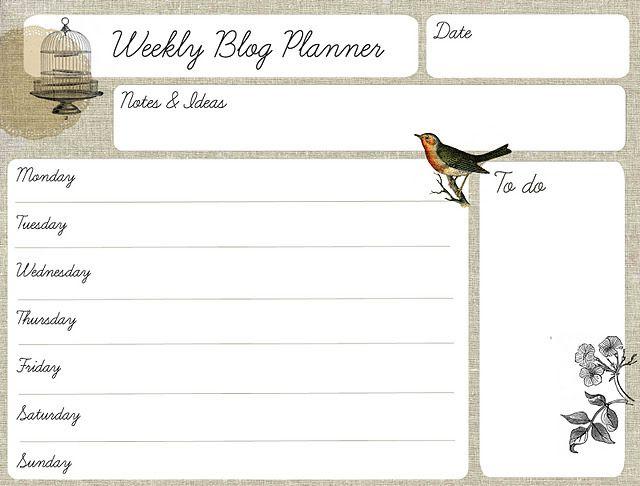 Printable Weekly Blog Planner
