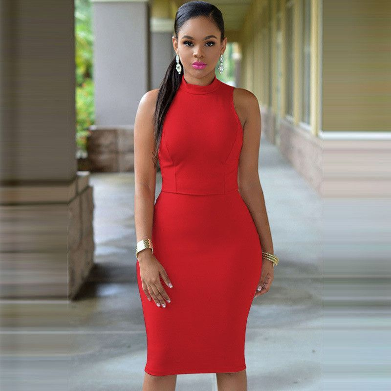 2016 summer women Dress Solid Color Close Party Reveal Back Sexy Office Pencil Backless Kim Kardashian plus size beach