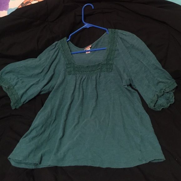 Dark Hunter Green Top Loose fitting top. With Embroidered type neck line and sleeve. 3rd Picture makes it look lighter than it is. Mossimo Supply Co Tops