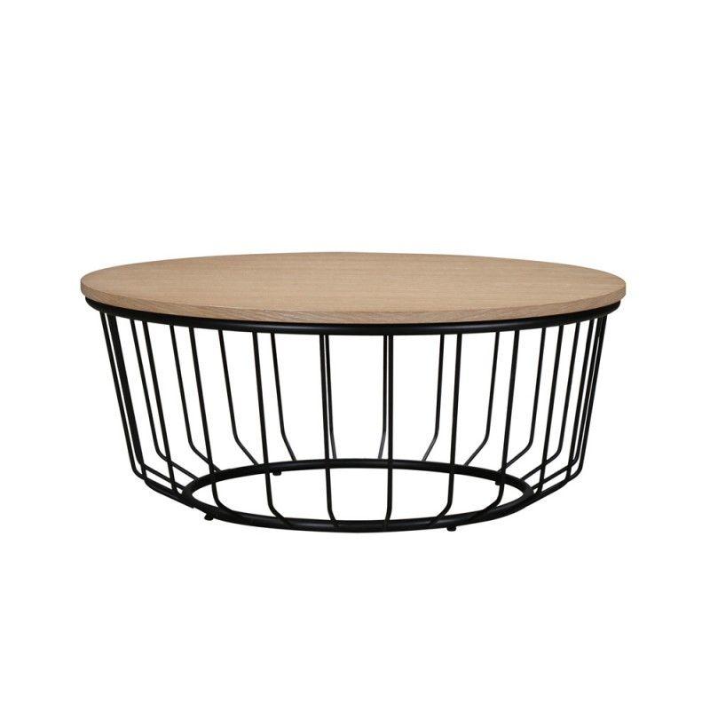 Table Basse Ronde Design Michou En Bois Et Metal Chene Clair