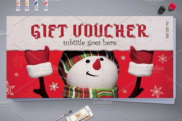 Christmas Gift Voucher with 3 Styles by Tzochko on @creativemarket