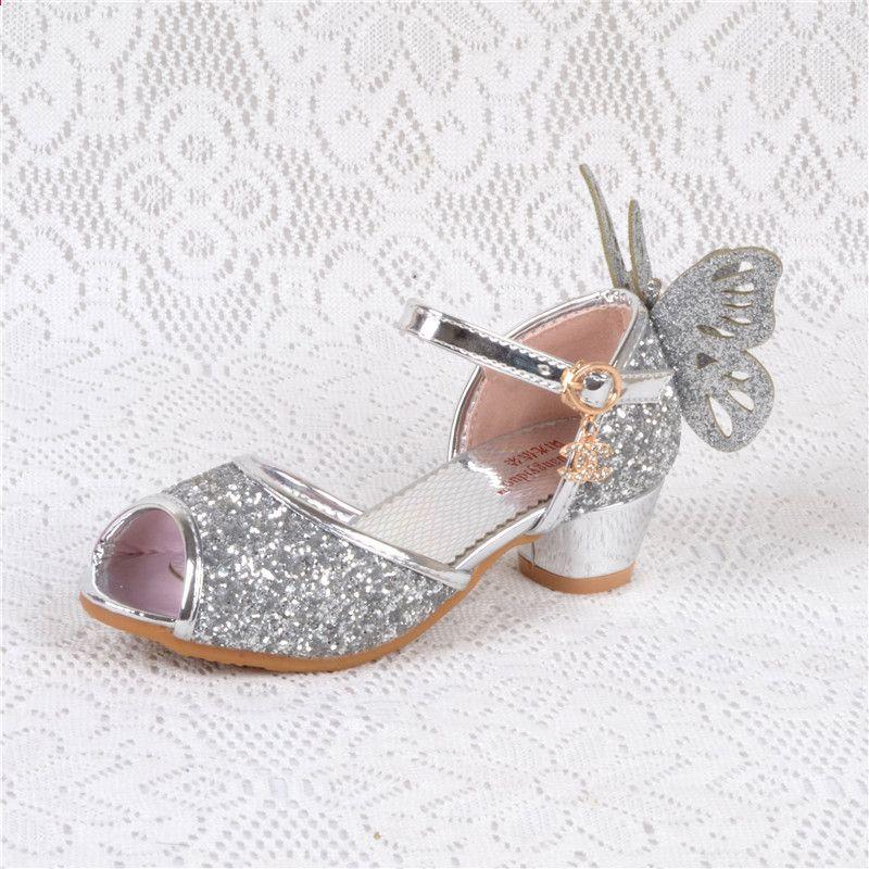 78f96931 Sandalias de tacón para niñas niños Tacones altos para niña Sandalias de  cuero Enfant zapatos niñas