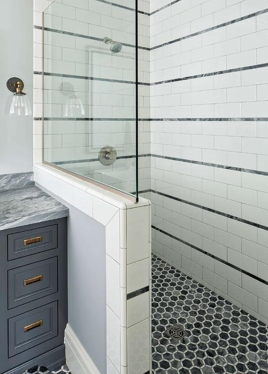 White And Gray Shower With Gray Hexgon Shower Floor Tiles