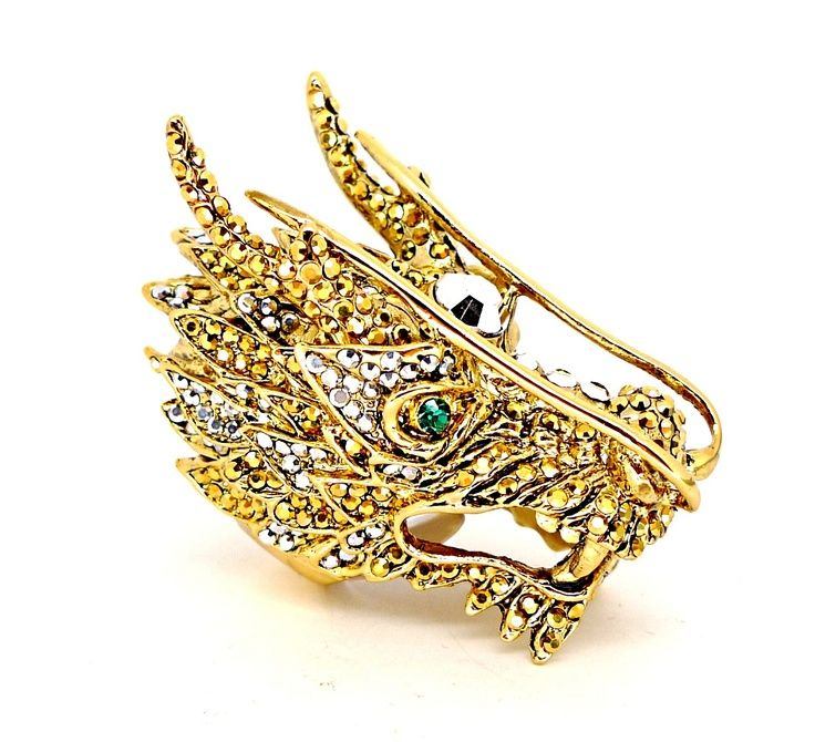 gold dragon jewelry Butler Wilson Huge Gold Crystal Dragon Ring