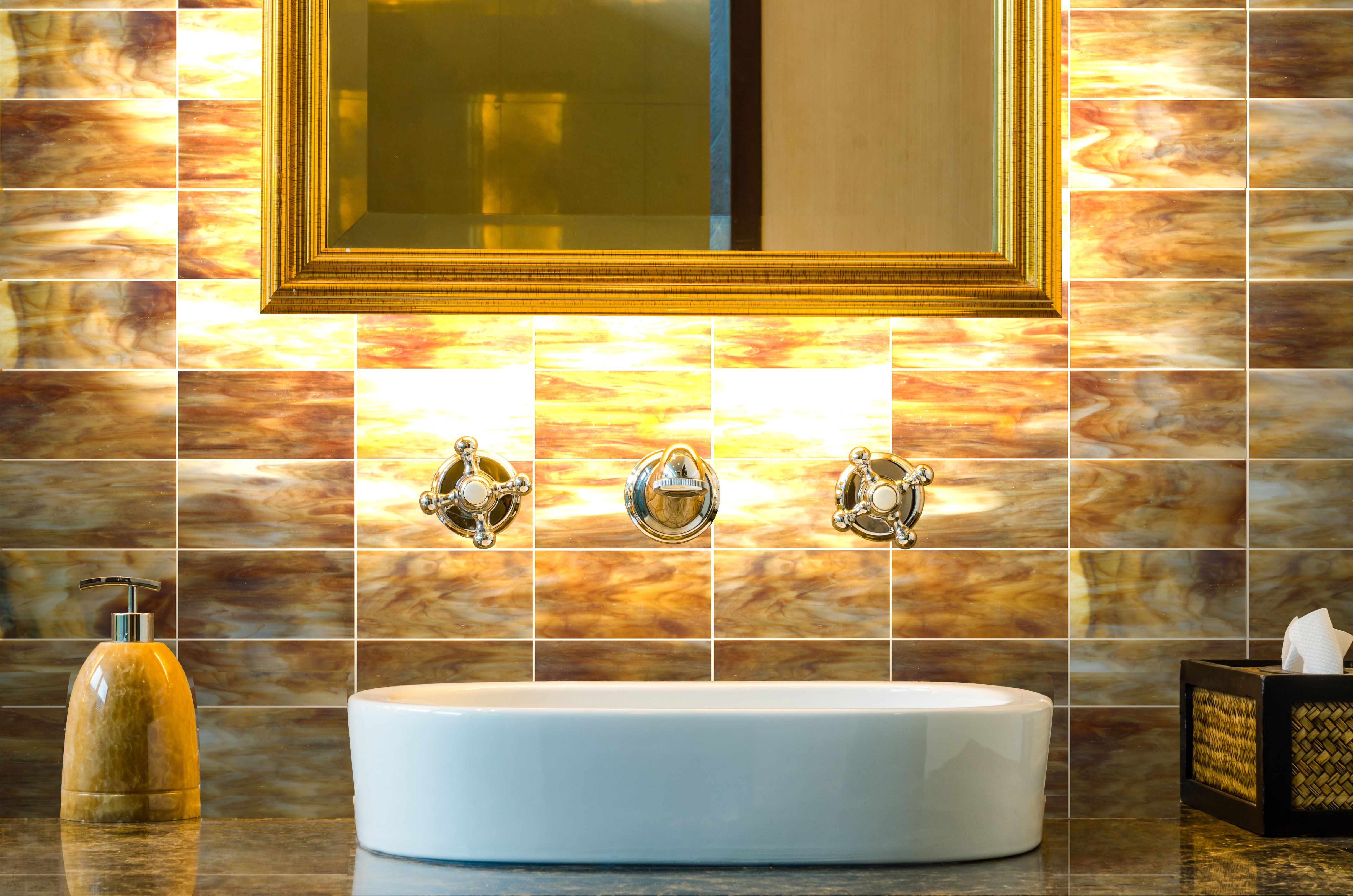 Add glamour to your walls with our New Art Desert Sunset Glass #tile ...
