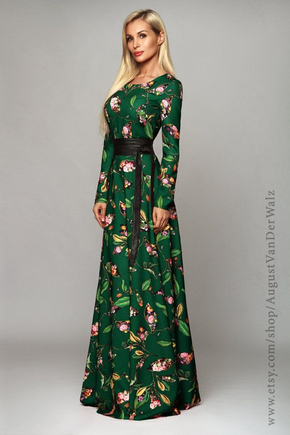 53f553657d2 Floral Long Dress Maxi with long sleeve from my collection Smell of Spring Green  dress. Printed dress This dress perfect for Spring and Autumn.