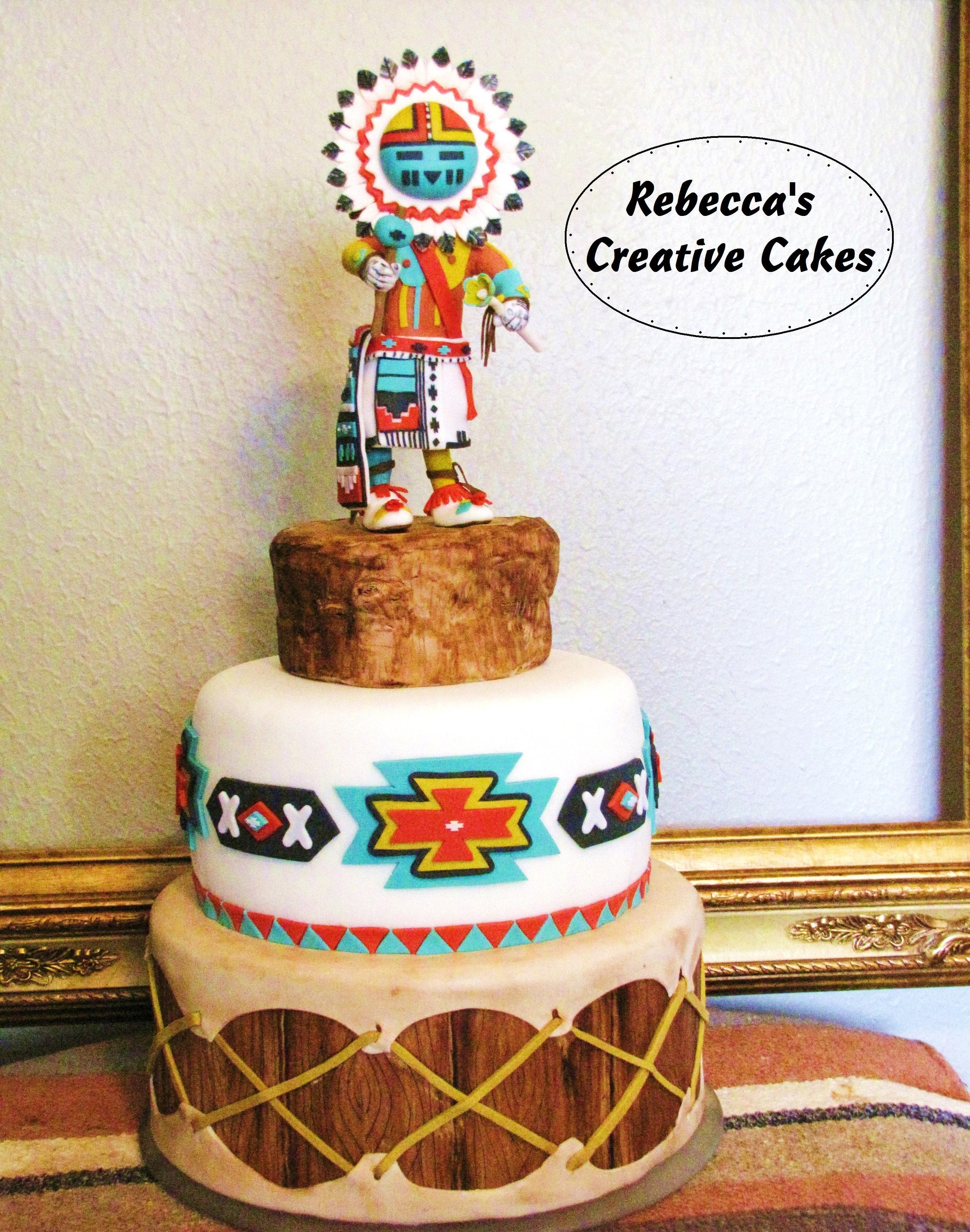 Native American Kachina on Drum Cake - Native American Kachina Doll