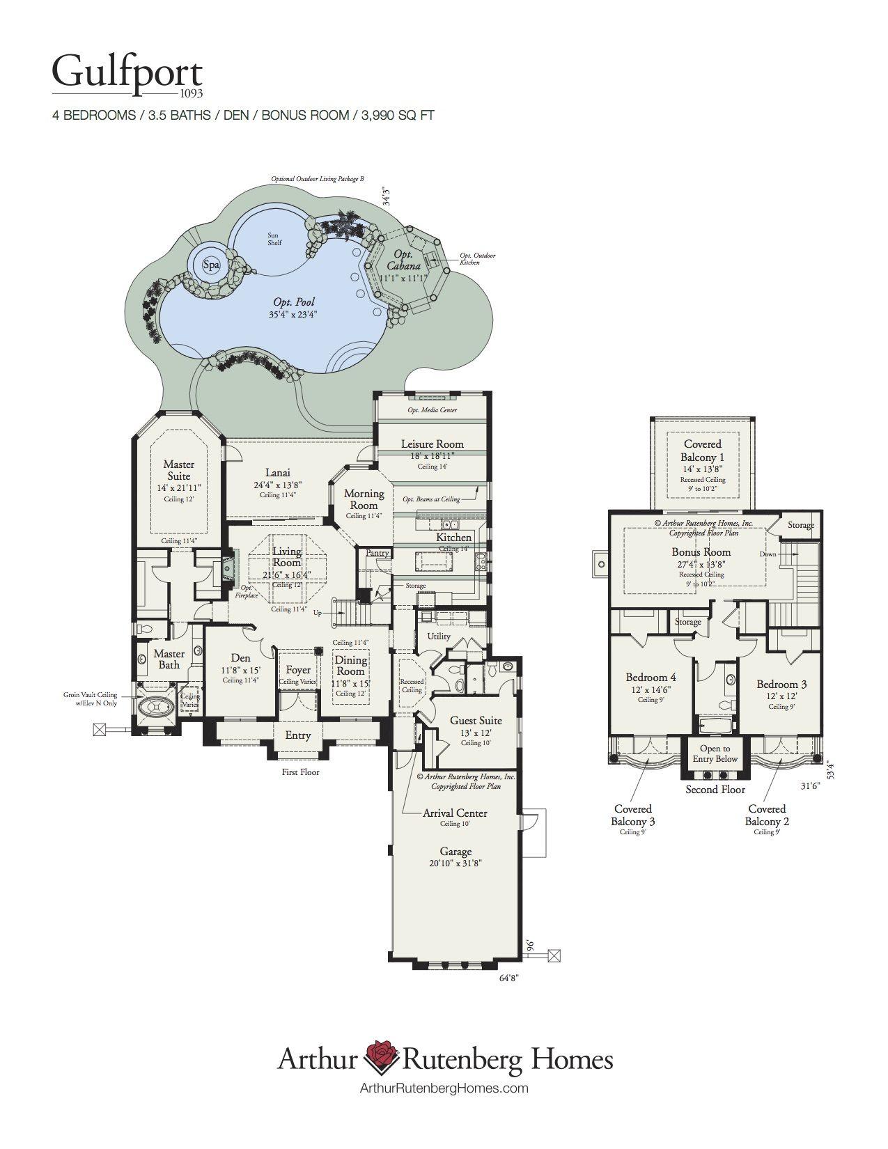 Arthur Rutenberg Homes Custom Home Design Living Area 3990 Sf