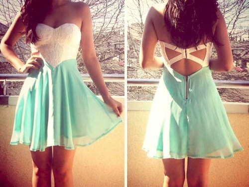 White&Teal Strapless Dress with Lace Bodice&Cutout Back | Summer ...