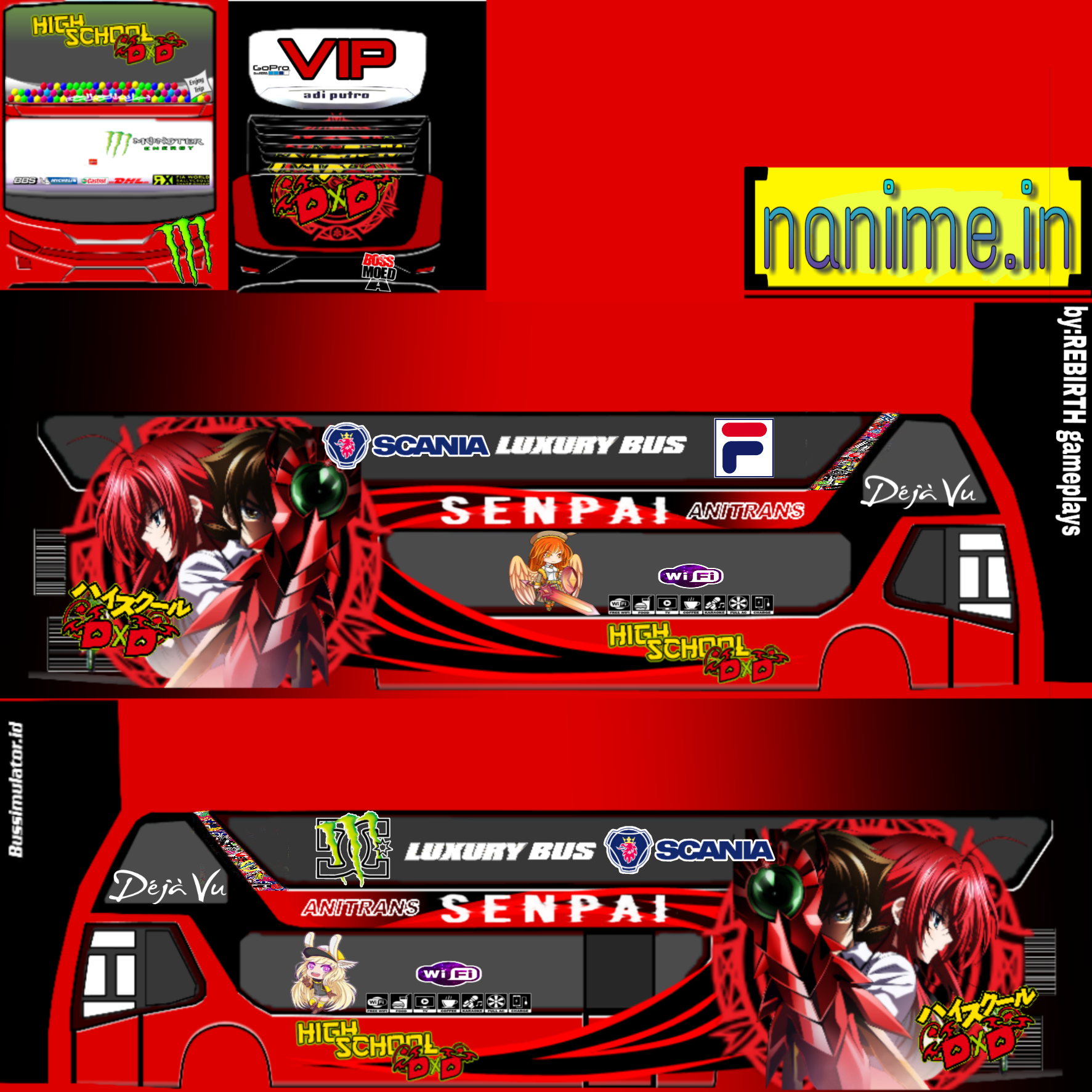 freetoedit bussid livery sdd anime high school dxd