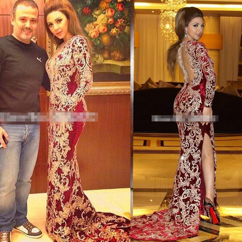 957f1fb157 Evening Dresses Durban Arabic Myriam Fares Burgundy V Neck Mermaid Evening  Dresses Embroidery Vestido De Festa