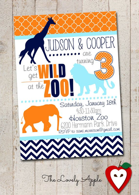 Zoo Party Invitation Zoo Animals Jungle Animals Wild Animals