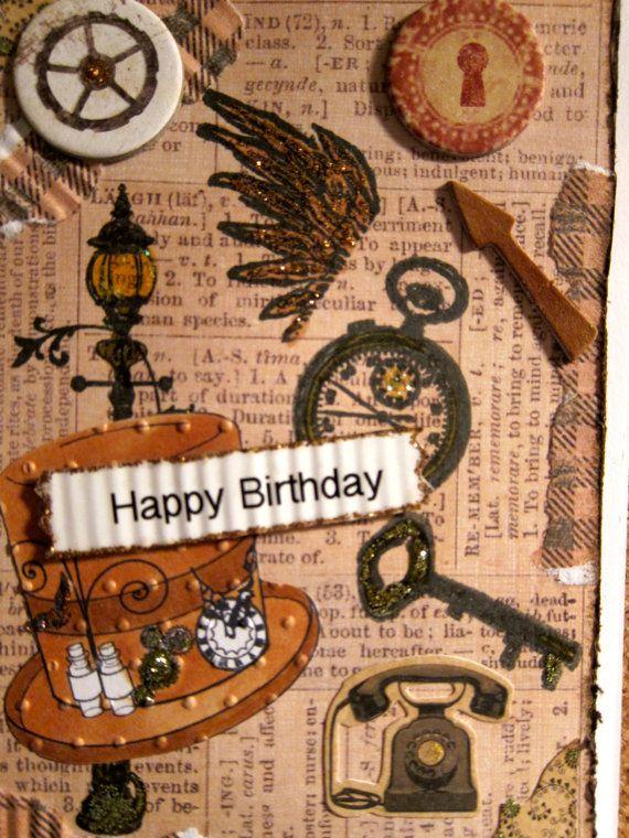 Handmade Steampunk Birthday Card For A Guy By Beadlady5carddesigns 4 00 Birthday Cards Card Tags Handmade