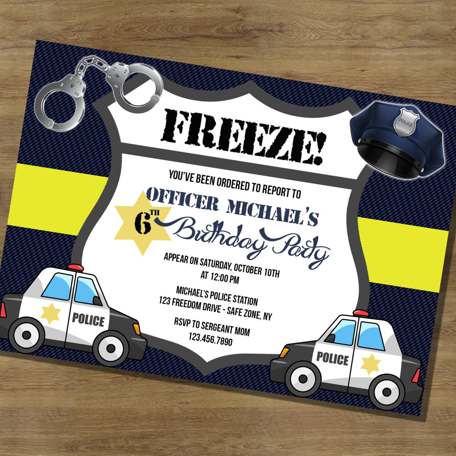 Police Birthday Invitation Police ficer Police Car by