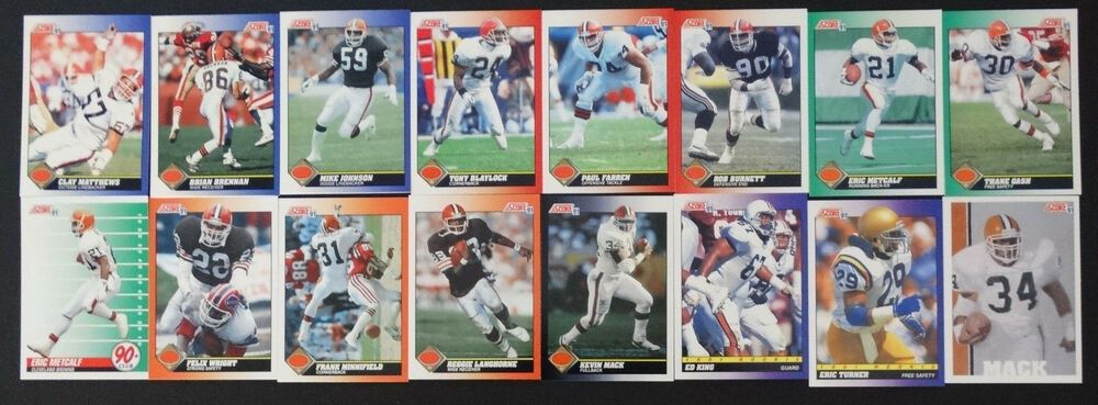 1991 score cleveland browns team set of 25 football cards