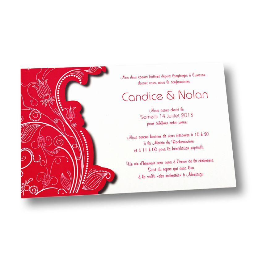 Faire Part De Mariage Simple Format Rectangle Réalisé Sur Du Papier
