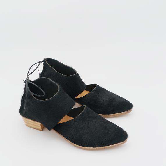 The rakia black hair on 3cm  handmade shoes minimal and soft  made to order   The rakia black hair on 3cm  handmade shoes minimal and soft  made to order