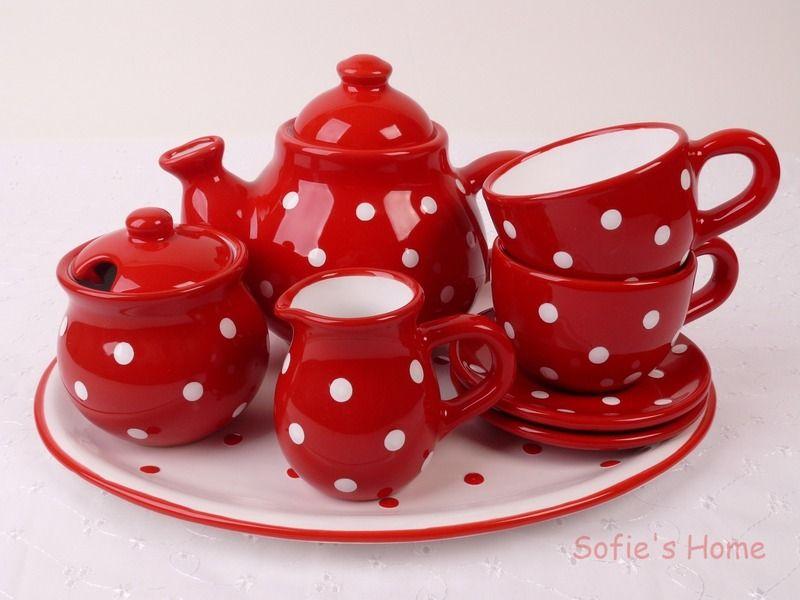 Landhaus gepunktete rotes Kaffeeservice handmade Dot dot, Red - würmer in der küche