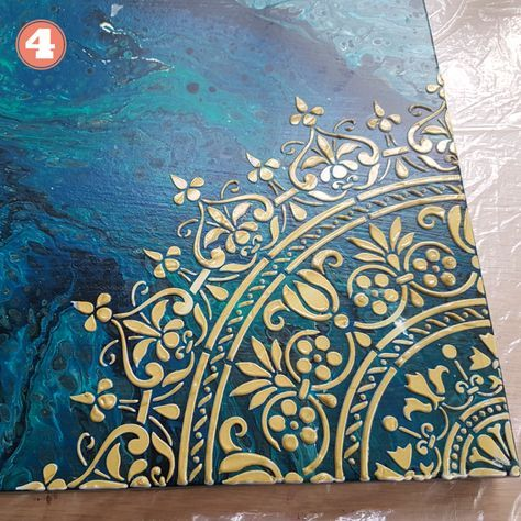 Stencil for Acrylic Pouring - Two Ways to Use + DI