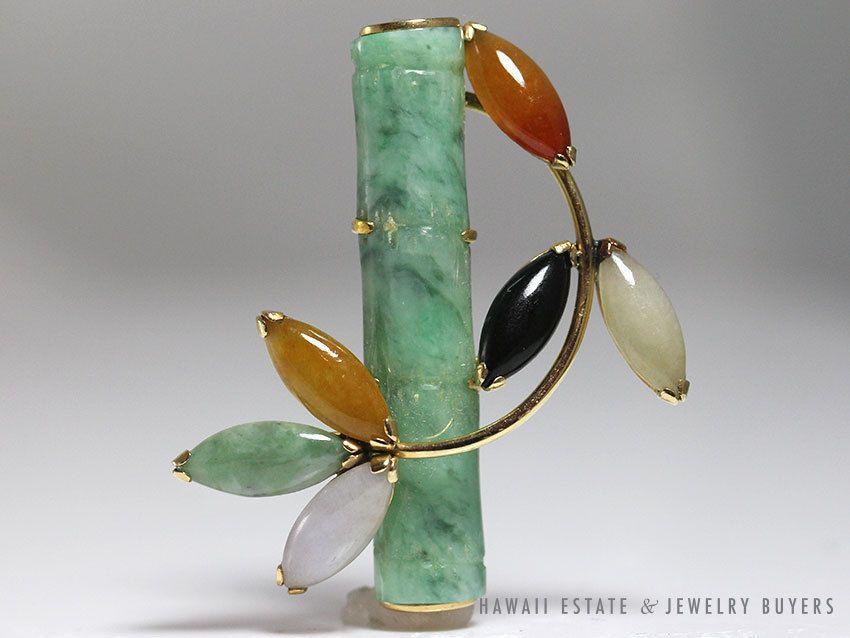 Vintage 1960 S Hong Kong 14k Yellow Gold Multi Color Jade Bamboo Brooch