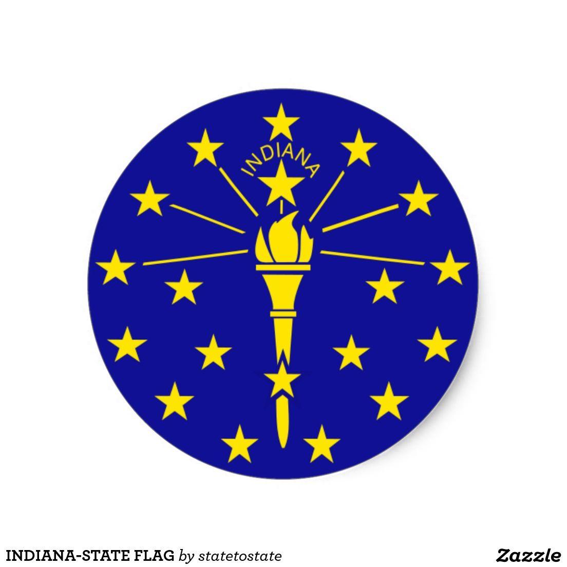 Indiana State Flag Classic Round Sticker Indiana Flag Indiana State Flag Indiana State