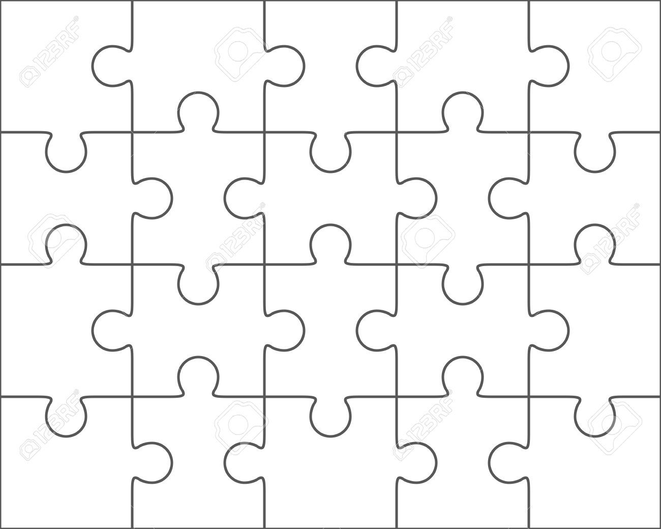 The Marvelous Jigsaw Puzzle Vector Blank Simple Template 4x5 Twenty Pieces With Blank Jigsaw Piece Template P Puzzle Piece Template Puzzle Shop Puzzle Pieces