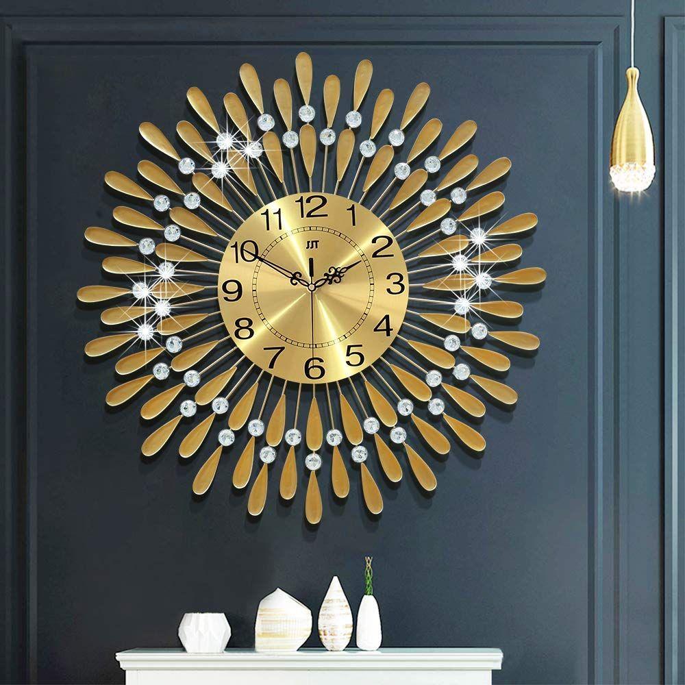 Fleble 23 6 Inch Large Wall Clock Gold Wall Clock Silver Wall Clock Wall Clock